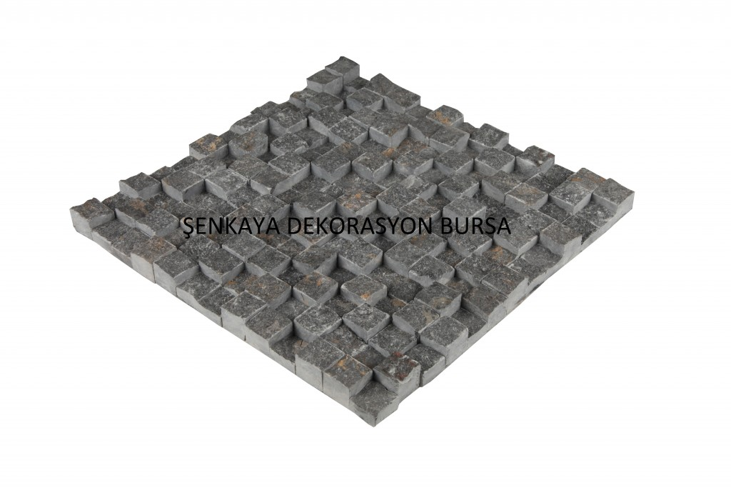 SNK 41 23×23 3D Travertine Siyah Doğal Taş